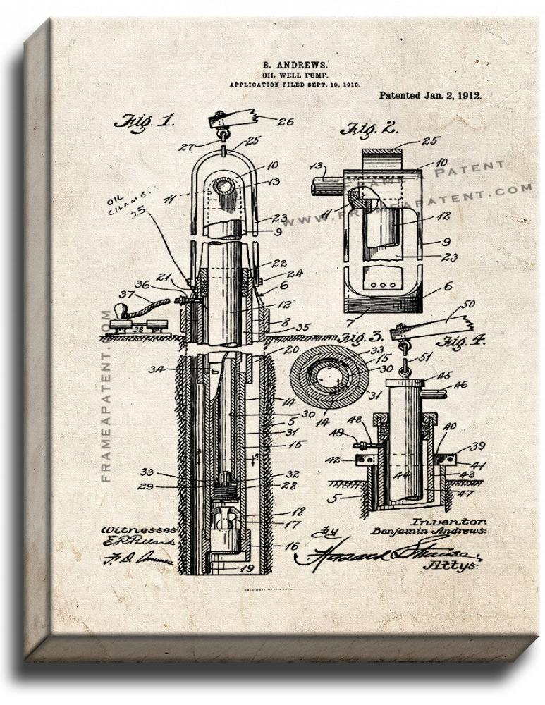 Primary image for Oil Well Pump Patent Print Old Look on Canvas
