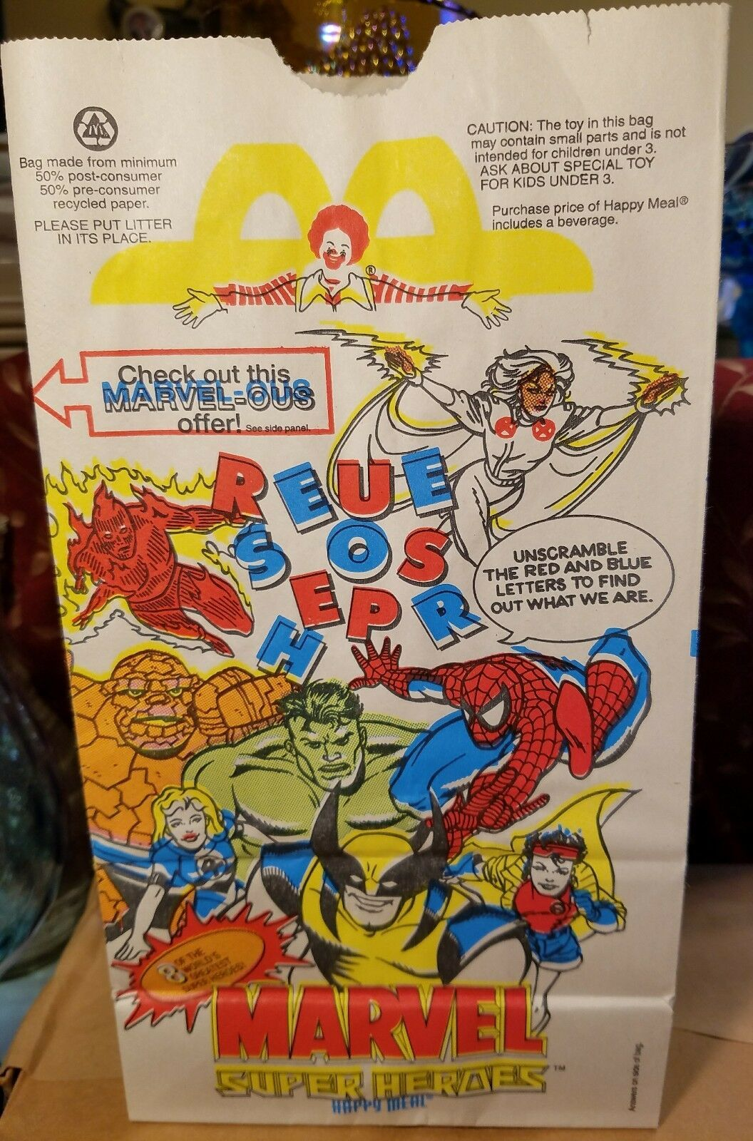 12 Bags - Mcdonald's Happy Meal Bags. 1996 Marvel Super Heroes - School Or Party