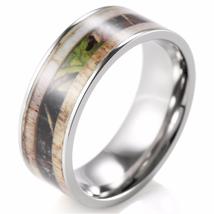 9mm Men's Deer Antler Titanium Ring with Camo I... - $55.00