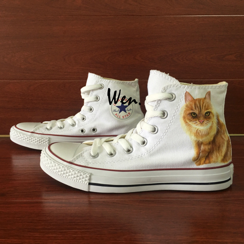 Cute Cat Pet Design Custom Converse for Man Woman Hand Painted Canvas Sneakers