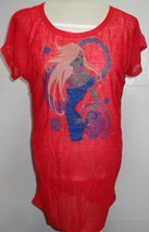 Uptown Girl T-Shirt Tank & Sheer Over NWT Women's SZ Med Red Multi Color - $9.99