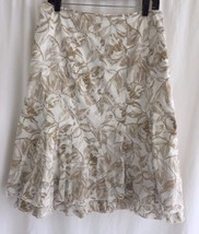 COLDWATER CREEK White Brown Floral Full Skirt M... - $24.20
