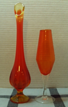 Vintage Orange Amberina Art Glass Stretch Vase Stemmed Vases Two Mod Vases - $22.00