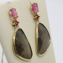 9K YELLOW GOLD PENDANT EARRINGS, DROP BROWN & OVAL PINK SAPPHIRE, RED RUBY image 2