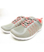 Zibu Deedra Womens Lace-Up Sneakers Gray/Coral Size 5M - $29.02