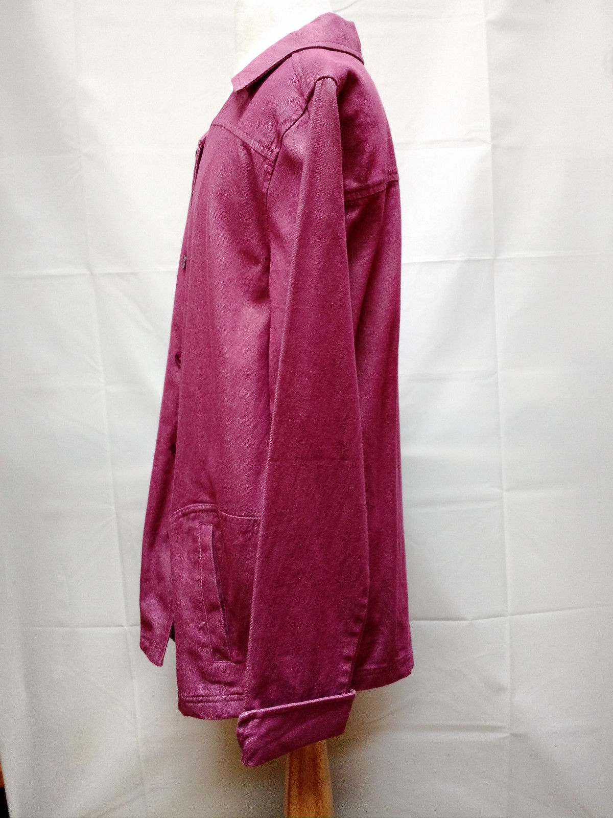 Denim & Co X-small Small Denim Violet Purple Long Jacket Blazer Coat Wide A Line