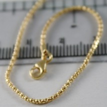 18K YELLOW GOLD CHAIN MINI BASKET ROUND LINK 1 MM WIDTH 15.75 INCH MADE IN ITALY image 2
