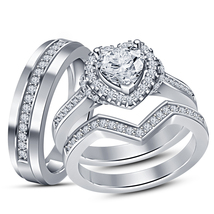 His Her Trio Ring Set 14k White Gold Over 925 Silver Charm Heart Shape D... - $150.99