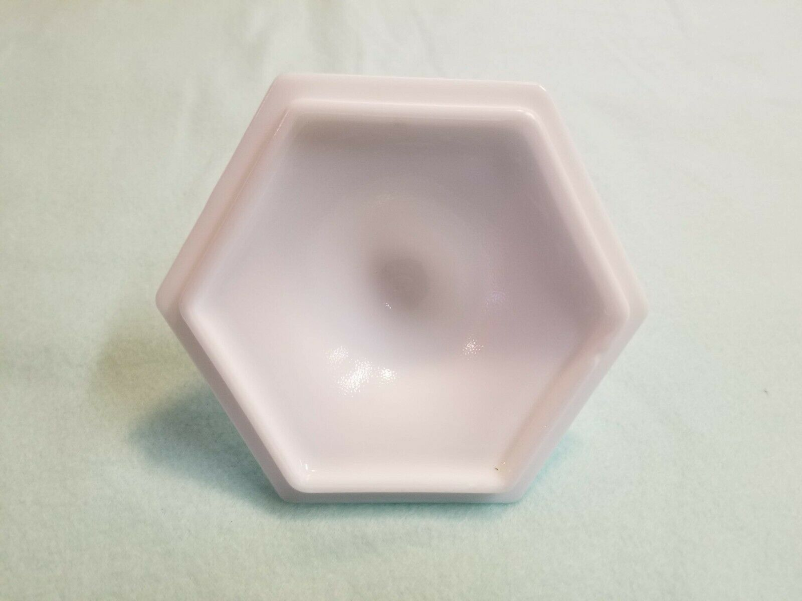 Vintage Imperial Milk Glass Grape Pattern Hexagon Candy Dish