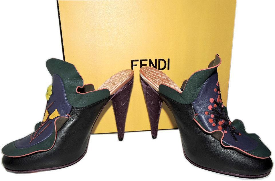 1,550 Fendi Embroidered Ruffles Mule Floral Waived Leather Clogs Shoe Heels 37 image 7