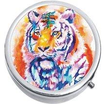 Watercolor Tiger Medicine Vitamin Compact Pill Box - $9.78