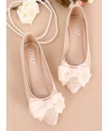 Vintage Lace Ivory Bow Wedding Shoes Women's Slip on Bridal Shoes US 7,8... - £30.95 GBP