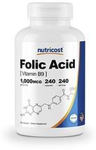 Nutricost Folic Acid Vitamin B9 1000 mcg, 240 Capsules - $14.85