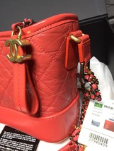 NWT AUTH Chanel 2019 Red Quilted Calfskin Small Gabrielle Hobo Bag GHW image 4