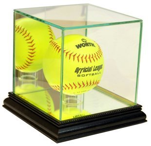 Perfect Cases MLB Softball Glass Display Case, Black