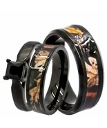 His & Hers 3pc Black Camo Wedding Rings 1.25 ct Black Spinel Engagement ... - $69.99