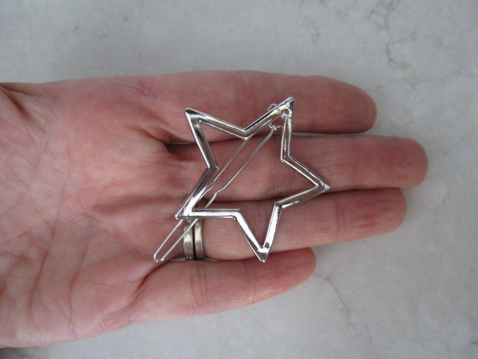 Silver metal star hair clip clamp barrette snap clip ...
