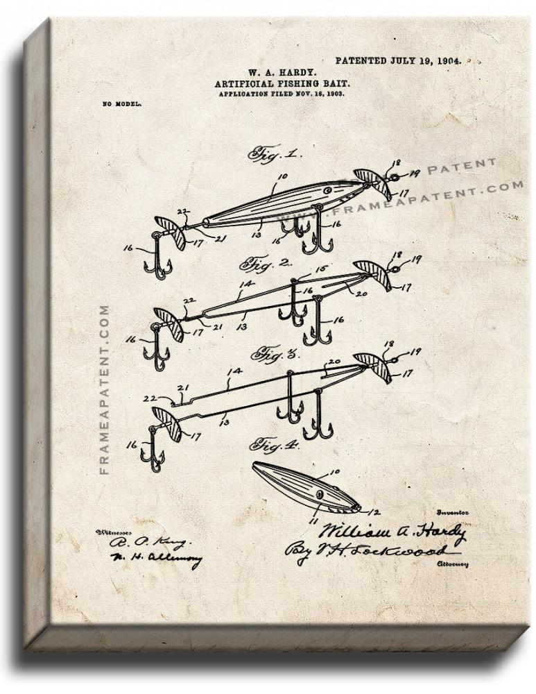 Primary image for Artificial Fishing-bait Patent Print Old Look on Canvas