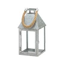 Large Galvanized Candle Lantern w/ Glass Panes, Rope Handle Farmhouse St... - $25.69