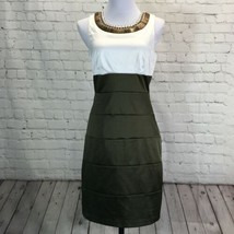 Bisou Bisou Satin Beaded Collar Sheath Dress Womans 10 Sleeveless Olive ... - $26.07