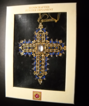 Dillard's Trimmings Christmas Ornament Handcrafted Pewter Cross Blue Gold - $13.99