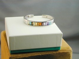 SPECTACULAR Tapered Baguette Rainbow Gemstone Chanel Set Hinged Bangle B... - $174.99