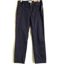 NEW Coldwater Creek Cropped Leg Jeans Women's Sz 4 Natural Fit Blue Circle Print - $19.95