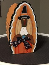 Thanksgiving Turkey Wooden Basket Napkin Holder Centerpiece - $15.47
