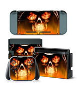 For Nintendo Switch Skull Flames Console & Joy-Con Controller Decal Viny... - $11.85
