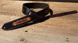 Hand Tooled Leather Guitar Strap – Day-Break Pattern - $129.00