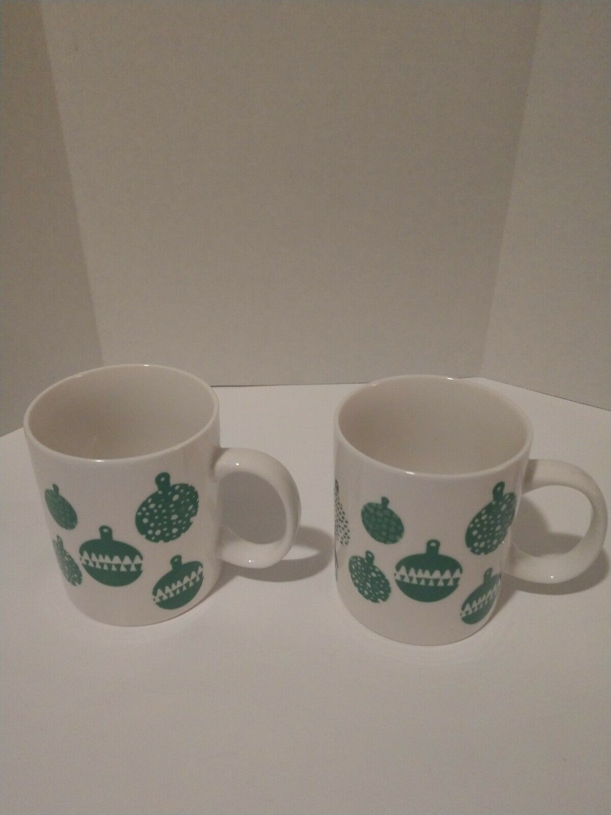 Primary image for 2 Starbucks Coffee Mugs Ornaments Cups 2016 Green White 12oz Christmas EUC !!
