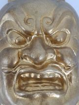 "Vintage or Antique Chinese plaster mask gold face 10"" image 6"