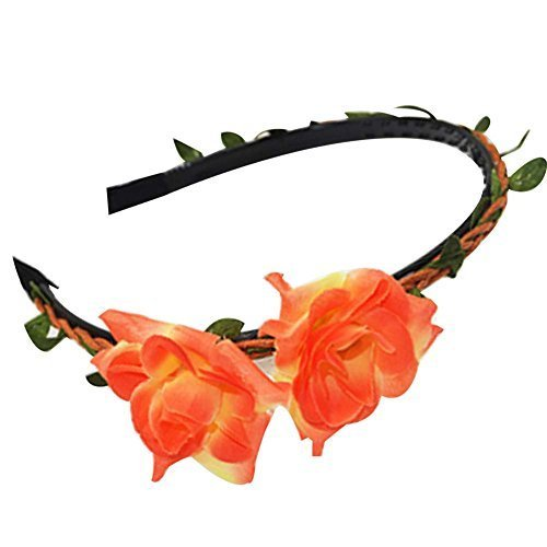 3 Pcs Orange Lily Woven Cloth Hair Bands Headdress Hair Accessories