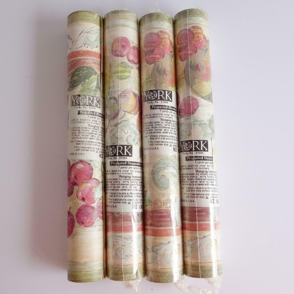 Primary image for YORK Prepasted Decorative Wallpaper Borders Set of 4 Rolls 5 Yds Fruit Pattern