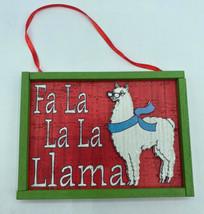 "Fa La Llama 4.75"" Wooden Christmas Ornament Kurt Adler Alpaca Country Cool - $13.99"