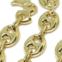 18K YELLOW GOLD MARINER BRACELET BIG 10 MM, 8.3 INCHES, ANCHOR ROUNDED OVAL LINK image 2