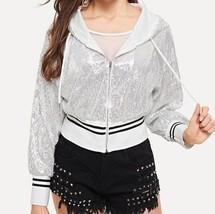 Zip Up Drawstring Hoodie Sequin Crop Jacket Striped Bomber Coat Rock Party Club - $43.19