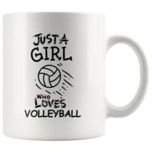 Just a Girl Who Loves Volleyball 11oz Ceramic Coffee Mug Gift Black Text - $19.95