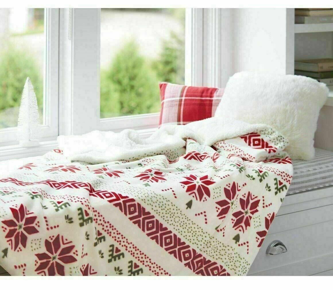 Printed Plush Reversed to Sherpa Throw Blanket - Threshold - 60 x 50 NEW !