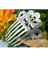 Vintage Silver Mantilla Victorian Style Hair Comb Etched Pierced Stars - $109.95
