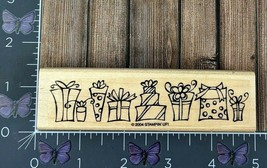 Stampin Up! Gifts Presents Border Rubber Stamp 2004 Party Birthday Wood ... - $3.71