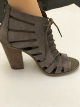 BCBG generation shoes TAN Cage Gladiator Strappy Block Heels Size 7.5 - $82.16