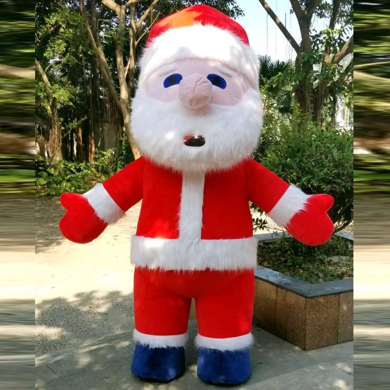 Christmas Inflatable Santa Claus Mascot Costume Saint Nick Suits Cosplay Plush P