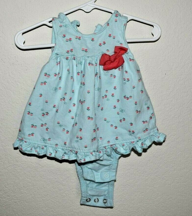 Child Of Mine By Carter's Dress Teal and Pink with Tulips 3-6 Months - $5.86