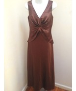 Davids Bridal 8 Brown Cognac Gown Shawl Long Formal Bridesmaid Dress - $39.18