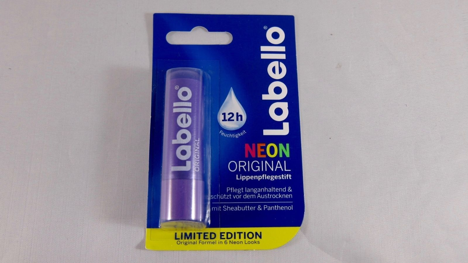 Labello ORIGINAL NEON: Purple lip balm/ chapstick -1 pack - Made in Germany