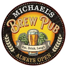 MICHAEL'S Beer Pub Man Cave Metal Sign Home Decor Round 100140025420 - $25.95+