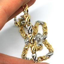 18K YELLOW WHITE GOLD CHAIN, INFINITE ROUNDED LINK, 20 INCHES, ITALY MADE image 3