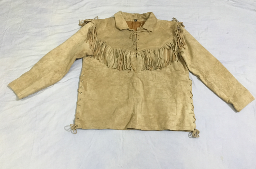Men's New Native American Mountain Man Buckskin Beige Goat Suede Shirt FJ33