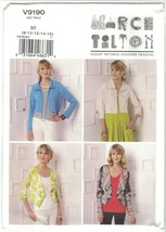 Vogue 9190 Marcy Tilton Pattern Shrug, Cropped Jacket Choose Size Uncut - $16.99